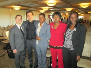 Zachary Kaufman, Taylor Krauss, Consolee Nishimwe, Mathilde Mukantabana, and Jacqueline Murekatete at the 19th Commemoration for the Genocide Against the Tutsi in Salt Lake City, Utah